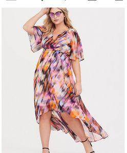 NWT Torrid watercolor chiffon hi lo dress size 00